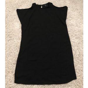 Lined Cold Shoulder Black Dress